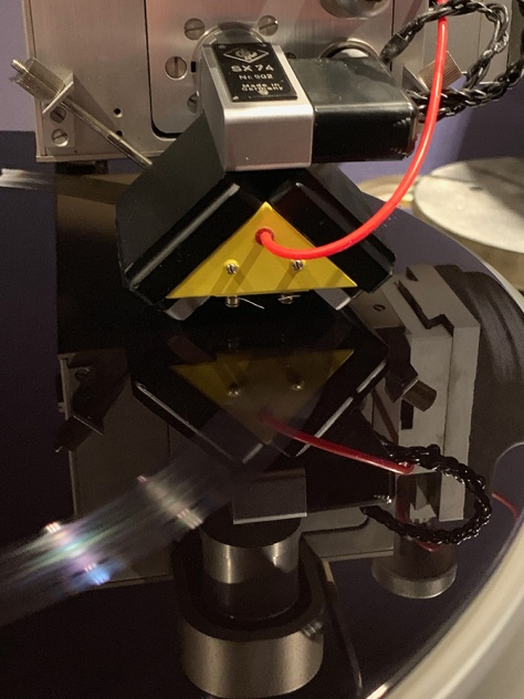 SX 74 cutter head on the VMS 80 lathe - cutting the lacquer master